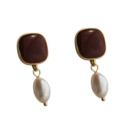 French Baroque Pearl 925 Sterling Silver Needle Ins Matte Gold Fashion Earrings For Party Wedding Gift