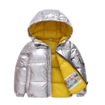 Glossy Silver Children's Down Coat Thickened Cotton Men & Women Children's Clothing Baby Down Cotton Space Bread Clothing 2019