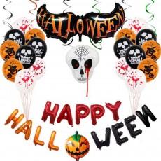 Halloween Balloons Set Spoof Skull Party Decoration Aluminium Film Balloon HAPPY Halloween Letters Decorative Balloon