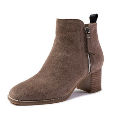 New Simple Fashion Retro Booties Zipper Square Head Thick Women's Boots