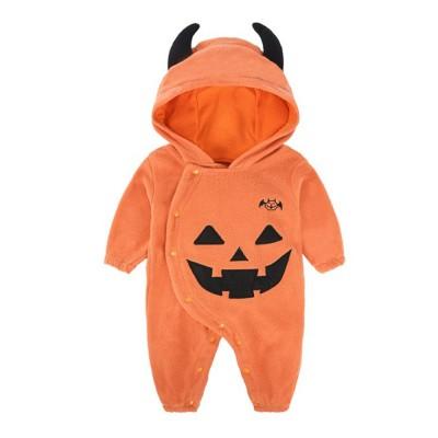 Universal Autumn Winter Halloween Pumpkin Baby Dress Hooded One-Piece Shirt Children's Clothing For Boys Girls