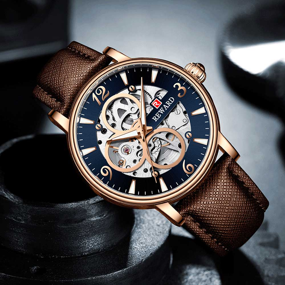 Businessman Mechanical Watch with Genuine Leather Watch Strap, Waterproof Hollow-out Bottom Cover Automatic Mechanic Men's Watch