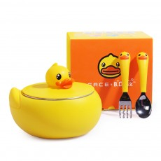 Small Yellow Duck Water Injection Bowl Children Tableware Baby Eating Bowl Stainless Steel Baby Spoon Set Complementary Food