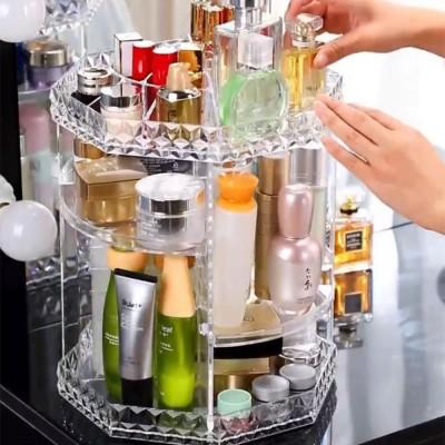 High Quality Plastic 360 Degree Rotating Makeup Organizer Cosmetic Storage Box Lipstick Desktop Shelf Dresser Storage Artifact Transparent