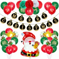 Christmas Decorations Sets Foil Letter 12 Inch Full Flower Printing Balloons Pull Flag Banner For Christmas Party