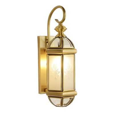 American Full Copper Wall Lamp European Style Hall Light with Glass Lamp Shade for Bedroom Balcony Entryway Living Room