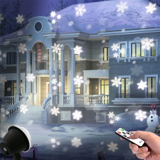 Mini Snowflake Projection Lamp Outdoor Waterproof RF Remote Christmas Projector Snowflake light