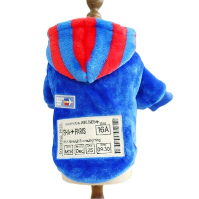 Creative Boarding Check Warm Pet Hoodie Embroidery Decorative Winter Autumn Puppy Little Dog Cat Pet Cloth Hooded Fleece