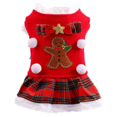 Gingerbread Pattern Red Pet Dress Christmas Decorations Puppy Dog Dress Teddy Bichon Clothing