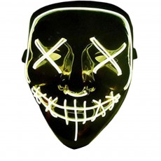 Halloween Luminescent LED Mask Black Bottom EL Wire Mask KTV Ball Party Mask 10 Colors