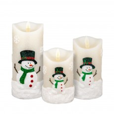 3Pcs Electric Candles Set with None-flickering Flame Snowman Led Candle Light Remote Control 3 AAA Battery Operated Christmas Decoration Candle Lamp