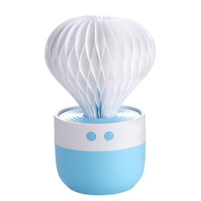 Portable Paper Cactus Humidifier USB Charging Air Diffuser 7 Colors LED Night Light for Home Office Car Travel