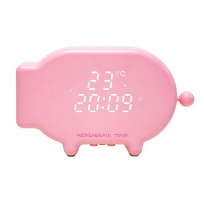 Adorable Cartoon Pig Clock Light for Indoors Bedroom Multifunction LED Screen Night Lamp USB Rechargeable Voice Control Alarming Clock