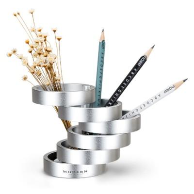 Creative Changeable Model Pencil Vase Brush Pot Office Desktop Ornament Aluminum Alloy Storage Box