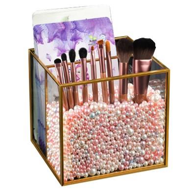 Stylish Minimalist Transparent Glass Desktop Storage Rack Jewelry Cosmetics Brushes Storage Case Box Household
