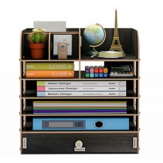 Desktop Storage Box Shelving for Student Office Man Multicolor Optional Office Supplies with Brush Pot Concealed Suction Carton