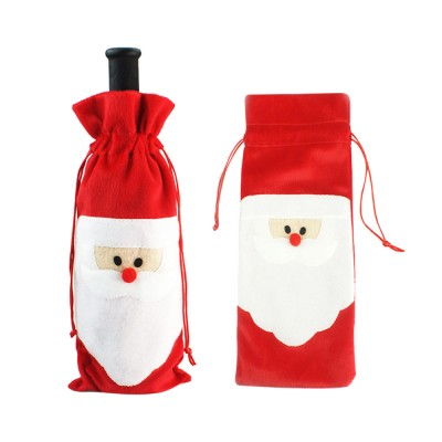 Wine Bottle Cover Christmas Santa Embroidery Whole Package Red Wine Decoration Draw String Christmas Ornament