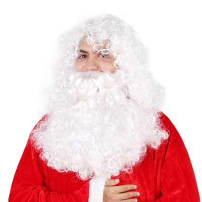 Santa Wig for Cosplayer, Button Mesh Healthy and Safety Long Curly White Hair High Temperature Wire Bearded Wig