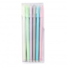 6 pcs Candy Color Matte Gel Pen Black Ink 0.5mm Business Office Supplies Carbon Bold Pen Students Stationery