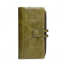 Vintage Double Zipper Long Wallet, Fashion Wallet for Ladies,High-quality First Layer of Cowhide Leather Clutch