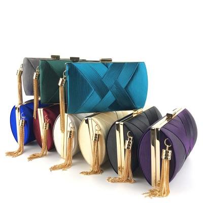 Sateen Tassel Bag for Women Evening Bag Lady's Bridal Dinner Bag