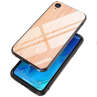 Wood Grain with Tempered Glass Phone Case Compatible for iPhone X/XS/MAX/7/8/7P/8P, Anti-impact Tempered Glass Phone Case Wood Grain Protective Phone Cover