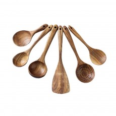 Healthy Cooking & Service 6-piece Utensil Set, Natural Solid Wood Spoon & Spatula, Durable and Eco-friendly Kitchen Tools