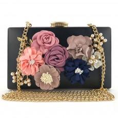 Ladies Shoulder Chain Floral Bag Ladies Evening Leather Clutch Bag