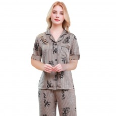 Summer New Ladies Silky Satin Women Flower Print Set Leisure And Comfortable Short-sleeved Trousers Flower Home Service