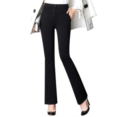 Plus Size Pants Female Casual Long Pants Ladies Office Trousers High Waist Slimming Black Straight Customized Stretch Big Size Slacks