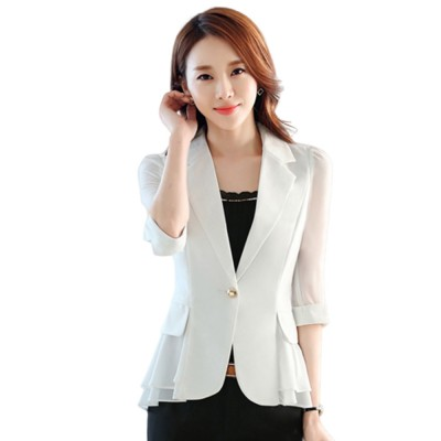 2019 Women New Design Fashion Formal Suit for Office Lady Work Wear Suit Seven-point Sleeves Ruffled Chiffon Women's Jacket Short Paragraph Slim