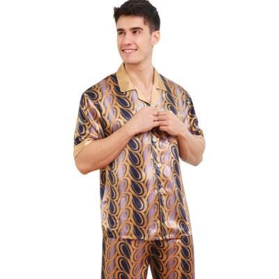 Autumn Short Sleeve Pants Ice Silk Lapel Pajamas Summer Lattice Thin Pajamas Men's Large Size Loose Home Set