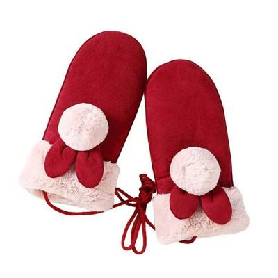 Suede Wrapped Finger Gloves Outdoor Women's Neck-hanging Warm Gloves Winter Velvet gloves