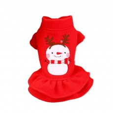 Waffle Check Princess Dress for Pet Wear Autumn Winter Skin-friendly Breathable Pet One-piece Dress Thickened Dog Dress Thermal Christmas Pet Costume