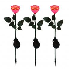 LED Solar Landscape Light for Outdoors Courtyard Gardens Waterproof Plastic Rose Flower Pattern Lamps Solar Rose Pin Lamp