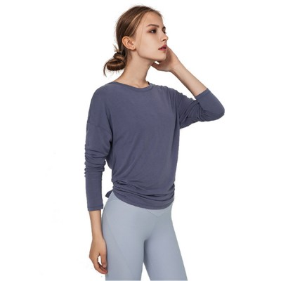 Yoga Tops Workout Shirts for Women with Sexy Backless and Long Sleeves Casual Loose Yoga Shirts Blouses