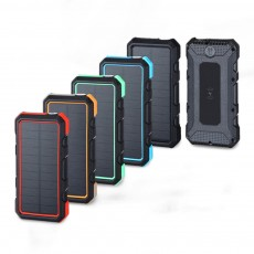 24000mAh Portable Solar Charger Two-way Type-C Power Bank with Flashlight and Metal Hook for Mobile Phone iPad MP3 MP4