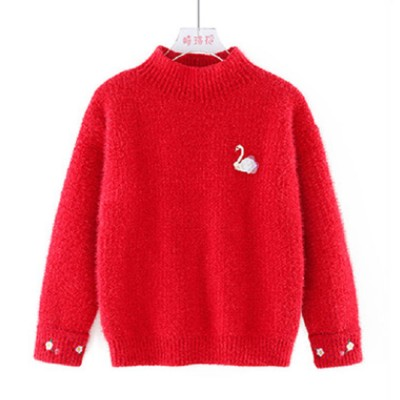 Elegant Autumn Winter Warm Imitated Mink Wool Sweater for Children Girls with Delicate Flowers Embroidery Swan Decoration