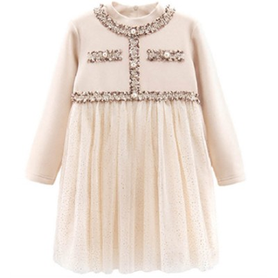 Pure Color Girl Dress Thermal One-piece Dress for Girl Kid's Wear Polyester Wool Flock Thickened Girl Dress Winter