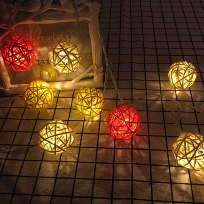 Fancy Delicate LED Lamps Sting Night Light with Colorful Rattan Ball Christmas Wedding House Decoration