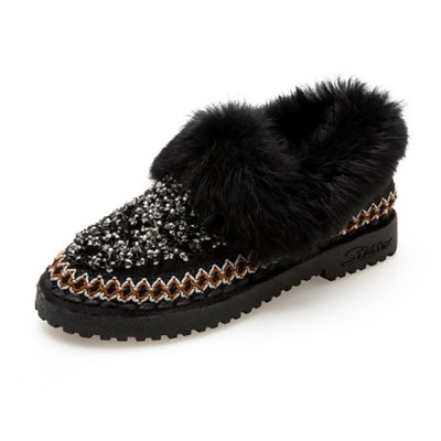 Thermal Cotton-padded Shoes for Women Winter Wear Paillette Flat-heeled PU Fur Shoes Thickened and Brushed Snow Boot