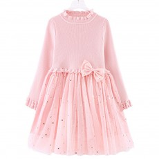 Fancy Elegant Winter Spring Autumn Children Girls Long-sleeve Sweater Dress Veil Princess Skirt with Star Sparkle Bowknot Decoration