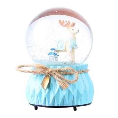 Deer Crystal Ball Rotating Musical Box Resin Base Snowflake Craft Ball for Birthday Gift Christmas Decoration