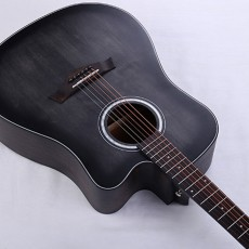 Acoustic Guitar Cutaway 41 Inch Single Board Guitar with Electric Box and Rosewood Fingerboard for Beginners Music Lovers