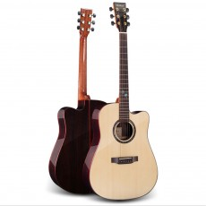 41 Inch Rosewood Veneer Guitar Acoustic Electric Guitar with Spruce Front and Fingerboard for Beginners Kids Adults