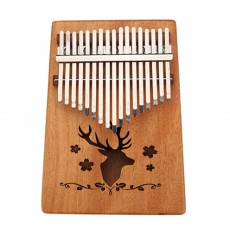 Mahogany 17-Key Thumb Piano Portable Solid Wood Finger Piano with Tuning Hammer & Storage Bag