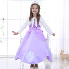 Girls Sofia Fancy Dress Cosplay Princess Sophia Costume Kids Puff Sleeve Embroidery Ball Gown Children Halloween Party Dresses
