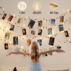 2 Pack LED String Lights with Wooden Clips Wall Hanging Photo Decorate Ornament 2M 20LED Lamps