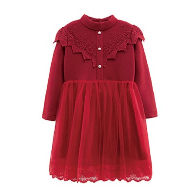 Warm Girl's One-piece Dress for Winter Autumn Fashion Grenadine Lace Princess Skirt with Buttons Pretty Long Sleeve Girls Dress