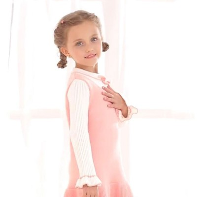 Purified Cotton Girls Sweater Dress Long Sleeve One-piece Warm No-burr Dress for Winter Autumn Princess Dress